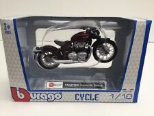 BURAGO 51067 1:18 TRIUMPH BONNEVILLE BOBBER DARK RED/BLACK TOY MODEL MOTORBIKE