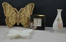 FOUR BUTTERFLY THEMED ITEMS A VASE/A CLOCK/AN ORNAMENT/A SOAP/TRINKET DISH