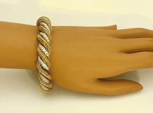 Estate Van Cleef & Arpels Apx. 2.5 TCW Diamond  Yellow Gold White Gold Bracelet