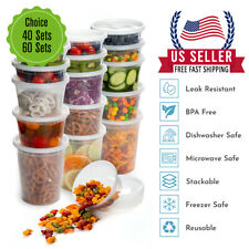 [ 8,16, 32oz]-Heavy Duty Deli Plastic Food Storage Containers with Airtight Lids