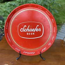 "vintage SCHAEFER BEER metal tray Brooklyn & Albany, NY 12"" red Canco"