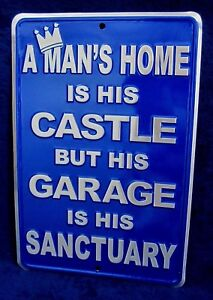 MAN'S CASTLE GARAGE SANCTUARY -*US MADE* Embossed Sign - Man Cave Bar Wall Decor