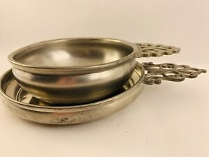 2 Vintage Pewter Porringer Dishes With Handles By Lunt & International Pewter