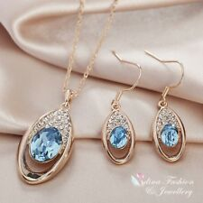 18K Rose Gold Filled Made With Swarovski Element Oval Aquamarine Teardrop Set