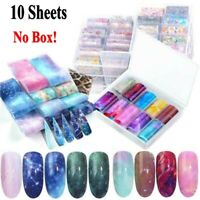 10Pcs Nail Art Foil Set Stickers Glue Transfer Gorgeous Starry Sky Decals Gift
