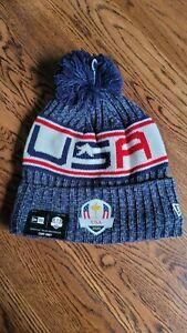 2020 Ryder Cup USA New Era Navy Blue Knit Pom Hat Golf Whistling Straights 2021