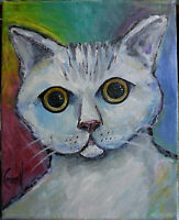 DAT' CAT pet Big Eyes New oil painting 8x10 canvas original signed art Crowell $