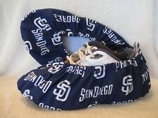 Men's MLB San Diego Padres. Cotton, Lined with vinyl soles. Fits men's 10-12
