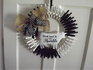 "NEW Farmhouse WREATH black&white BURLAP clothespin COW 16"" WORK HARD STAY HUMBLE"