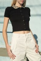 brandy melville black crop button up Caroline top with leopard collared NWT XS/S