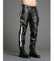 Men's Leather Pants Biker Bluf  Breeches Trousers Punk Motorcycle Lederhosen