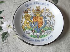 VINTAGE COLLECTABLE WOOD & SON SILVERED PIN DISH SILVER JUBILEE 1977 ELIZABETH
