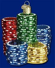 POKER CHIPS OLD WORLD CHRISTMAS GLASS GAMBLING CASINO LAS VEGAS ORNAMENT 44040