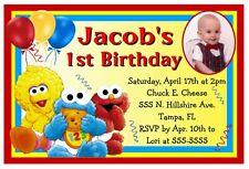 BABY SESAME STREET ELMO BIRTHDAY PARTY INVITATIONS w/photo