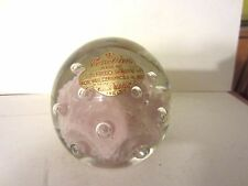 Venetian Alfredo Barbini Pink Controlled Bubbles Glass Paperweight Murano Italy