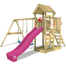 WICKEY MultiFlyer Aire de jeux avec balançoire et toit en bois - Toboggan violet
