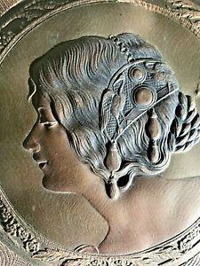 Antique Victorian Trifold Bevel Mirror w Leather Figural Lady w/ Bird Headdress