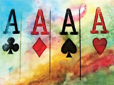 CULTURAL ABSTRACT PAINTING CARD ACE CLUB SPADE HEART DIAMOND POSTER PRINT BB637A