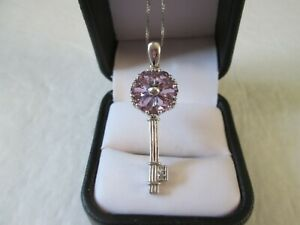 Amethyst Key Pendant Platinum over Sterling Silver w/ 17 inch chain TGW 2.34 cts