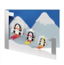 MoMa Holiday Card Penguin Skiers 8 Cards & Envelopes Greeting: Seasons Greetings