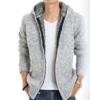 Mens Lining Fleece Hooded Cardigan Slim Fit Knitted Jacket Winter Warm Coat Tops