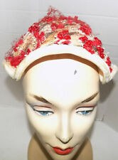 New listing Vintage Molded White Hat Red Posey Bunches Red Veil Net Lining