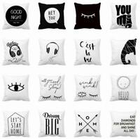 Black And White Abstract Throw Pillow Case Polyester Square cushion covers