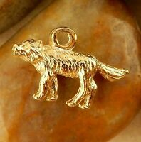 22k gold Plated Pewter 3D Wolf Charms