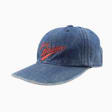 Womens Guess Jeans Athletics Washed Denim Cotton Strapback Cap Hat Blue 5517