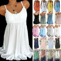 Women Summer Boho Lace Vest Tank Top Sleeveless Casual Oversize Blouse Tunic Tee