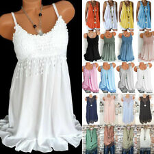 Women Summer Boho Lace Vest Tank Top Sleeveless Plus Size Blouse Tunic Shirt