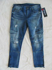 True Religion Halle Super Skinny Cargo Jeans -Cast Off - Size 26 - NWT $229