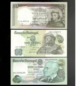 Portugal, 1964-78, 3 x 20 Escudos, ALL CRISP UNC!