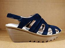 Skechers Parallel Stylin' Suede Peep-toe Slingback Wedges Navy US 8 NWOB Sandals