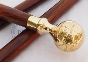 Vintage Brass Globe Design Head Handle Antique Wooden Walking Stick Shaft Cane