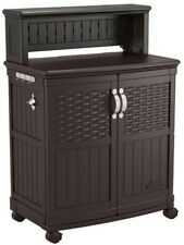 New listing Brown Resin Patio Rolling Cabinet Outdoor Kitchen Accessory Storage Prep Station