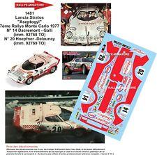 DECALS 1/43 REF 1481 LANCIA STRATOS DACREMONT RALLYE MONTE CARLO 1977 RALLY