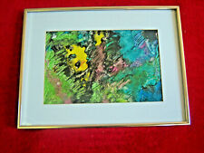 Abstract Encaustic Painting On Paper 'Cowal Cave' Unsigned Framed w Glass 12x16