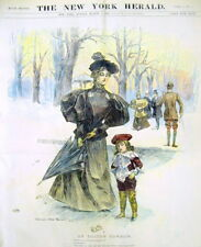 1896 Sunday newspaper COLOR magazine section Woman walking in BOSTON COMMON park