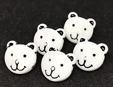 5 NOVELTY BEAR FACE WHITE BUTTONS FOR SEWING KNITTING CRAFT AND SCRAP BOOKING