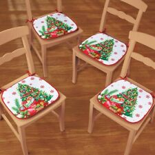 Set of 4 Decorated Christmas Tree w/ Wrapped Presents Kitchen Chair Cushions