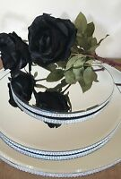 "16"" Silver diamante round mirror plate cake stand. Wedding table centerpiece 16"