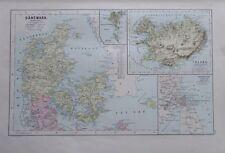 Karte aus 1889 - Dänemark - alte Landkarte old map