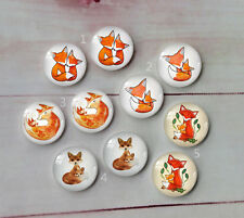 Love little fox Round Glass Cabochon Dome Flat Back Cover 10PCS 12mm A87
