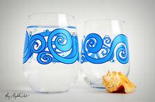 Ocean Waves Stemless Wine Glasses - Set of 2 Beach Themed Wine Glasses