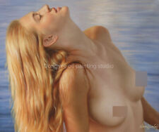 """Art prints on canvas portrait charming female nude girl from oil painting 20x24"""""""