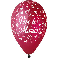 10 BALLONS Bordeaux IMPRIME VIVE LES MARIES BLANC 30 cm Décoration Mariage