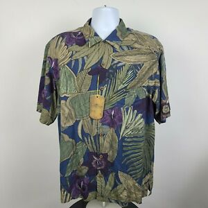 NWT Tommy Bahama Mutlicolor Floral Mens Aloha Hawaiian Button Shirt Size Large L