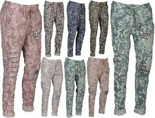 New Italian Ladies Women Camouflage Stretchable Magic Trouser Jogger Pants 10-16