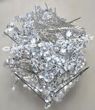"144 DIAMOND HEAD PINS WEDDING CORSAGE BOUQUET PIN NEEDLES BOUTONNIERE FLOWER 2"""